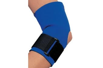 (Large, Blue) - CHAMPION Neoprene Elbow Support with Encircling Support Strap