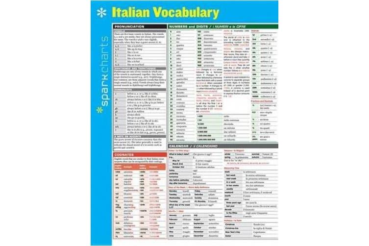 Italian Vocabulary Sparkcharts (Sparkcharts)