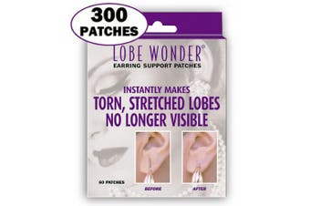 (300 patches) - 300 Invisible Earring Ear-Lobe Support Patches - Provides Relief for Damaged, Streched Ear-Lobes and Helps Protect Healthy Ear Lobes Against Tearing