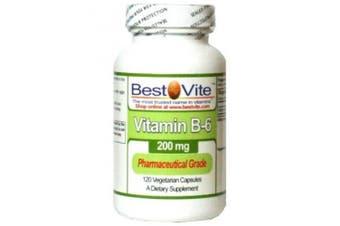 (120 Vegetarian Capsules) - Vitamin B-6 200mg (120 Vegetarian Capsules) - No Stearates - No Flow Agents