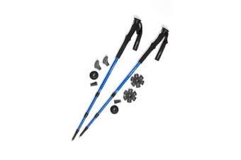 (Midnight Blue) - Pair of Trekrite Advanced Antishock Lightweight Walking Poles / Hiking Sticks - Blue