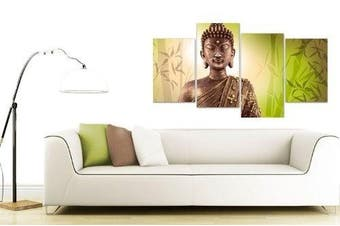 Large Buddha Canvas Pictures Wall Art Prints Lime Green 130cm XL 4100