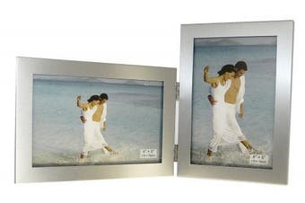 (Style B) - Brushed Aluminium Satin Silver Colour Twin 2 Picture Double Folding Photo Frame Gift - Takes 2 Standard 15cm x 10cm photographs (1 Landscape and 1 Portrait Style)