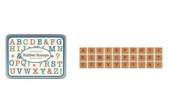 Cavallini Mini Alphabet Stamp Uppercase x 30 Vintage Rubber Stamps