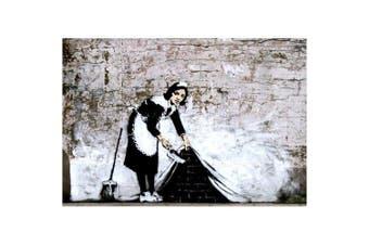 """Banksy Cleaning Maid Mini Graffiti Poster Measures 24"""" x 17"""" (61 x 43 cm)"""