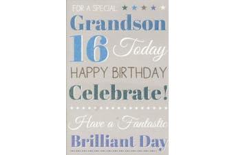 Grandson Happy 16th Birthday Card - Blue Balloons