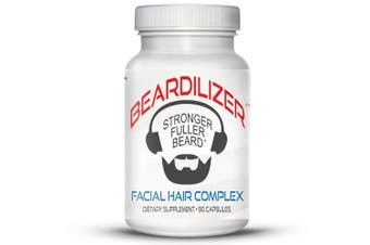 (1) - Beardilizer - #1 Facial Hair and Beard Growth Complex for Men - 90 Capsules Powerful Nutrients Blend