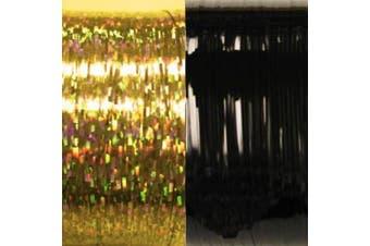 (Hologram black, gold) - Hologram Bling String 500' Hair Tinsel with Clips