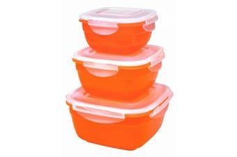(organge) - Lock & Lock Colour Promotion HSM8450PSO3 3-Piece Multi-Use Food Container Set Orange