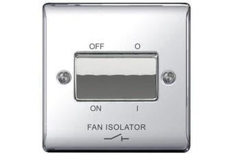 (Polished Chrome) - BG Electrical NPC15 Nexus Metal Polished Chrome 1 Gang 10Ax TP Fan Isolator Switch