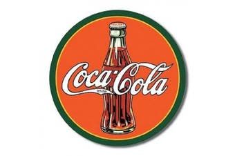 A Refreshing Coca Cola Tin Sign, 30cm x 30cm Featuring The Classic Glass Bottle And Iconic White Signature