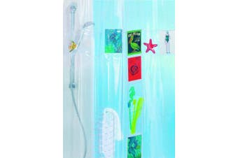 Spirella Postcard PEVA Plastic Transparent Shower Curtain with 20 Pockets for Storage, 180 x 200 cm