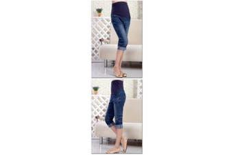 (L-Size 10) - Blue Denim Cropped Capri 3/4 crop Over or Underbump Maternity Jeans 8 10 12 14