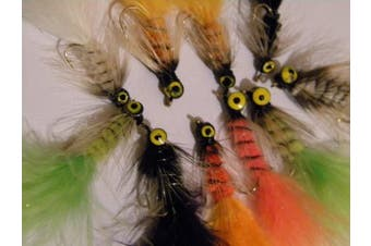 Fly Fishing Dog Nobbler Selection TEN FLIES mixed colours and sizes