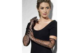 (One Size, Black) - Lace Gloves