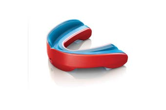 (Red, Adult) - Shock Doctor Nano Double Mouthguard, Protects Upper and Lower Teeth, Youth & Adult sizes available