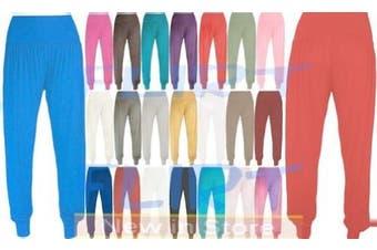 (UK 12-14 (M/L), Turquoise) - Womens Ali-Baba Legging Ladies Full Length Baggy Hareem Trouser Pant 8 10 12 14