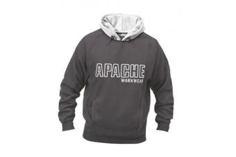 (X-Large, Black/Grey) - Apache Men's Fleeced Sweatshirt Hoody