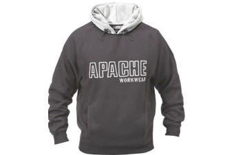 (Large, Black/Grey) - Apache Men's Fleeced Sweatshirt Hoody