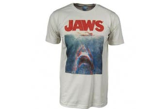 (X-Large, Vintage White) - American Classics Mens Retro Jaws In Terrifying 3D T Shirt