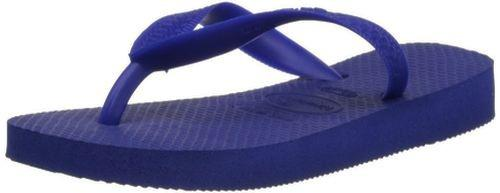(45-46 EU, Marine Blue) - Havaianas Unisex Top Flip Flops Size: 45-46 EUColour: Marine Blue These Havaianas flip flops have the following features: The Havaianas Flip Flops Top are trendy light white flip flops for kids. Rubber foot sole with a rice grain pattern Rubber foot strap The text 'Havaianas' on the foot strap These flip flops are very comfortable. They are anti-slip and quickdry. Havaianas The brand Havaianas is founded is 1962. The design of the flip flops are inspired by the Zori, Japanese sandals. The rice grain pattern on those sandals are still used on the foot sole of the Havaianas. Flip flops have become part of the modern day culture. Tags: flip flops, flipflops.