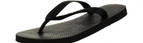 (10-11 UK, Black) - Havaianas Women's Top Jandals Size: 10-11 UKColour: Black These Havaianas flip flops have the following features: The Havaianas Flip Flops Top are trendy light white flip flops for kids. Rubber foot sole with a rice grain pattern Rubber foot strap The text 'Havaianas' on the foot strap These flip flops are very comfortable. They are anti-slip and quickdry. Havaianas The brand Havaianas is founded is 1962. The design of the flip flops are inspired by the Zori, Japanese sandals. The rice grain pattern on those sandals are still used on the foot sole of the Havaianas. Flip flops have become part of the modern day culture. Tags: flip flops, flipflops.