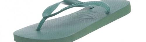 (45-46 EU, Amazonia) - Havaianas Unisex Top Flip Flops Size: 45-46 EUColour: Amazonia These Havaianas flip flops have the following features: The Havaianas Flip Flops Top are trendy light white flip flops for kids. Rubber foot sole with a rice grain pattern Rubber foot strap The text 'Havaianas' on the foot strap These flip flops are very comfortable. They are anti-slip and quickdry. Havaianas The brand Havaianas is founded is 1962. The design of the flip flops are inspired by the Zori, Japanese sandals. The rice grain pattern on those sandals are still used on the foot sole of the Havaianas. Flip flops have become part of the modern day culture. Tags: flip flops, flipflops.