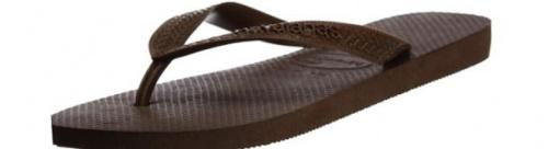 (8-9 UK, Dark Brown) - Havaianas Unisex Top Flip Flops Size: 8-9 UKColour: Dark Brown These Havaianas flip flops have the following features: The Havaianas Flip Flops Top are trendy light white flip flops for kids. Rubber foot sole with a rice grain pattern Rubber foot strap The text 'Havaianas' on the foot strap These flip flops are very comfortable. They are anti-slip and quickdry. Havaianas The brand Havaianas is founded is 1962. The design of the flip flops are inspired by the Zori, Japanese sandals. The rice grain pattern on those sandals are still used on the foot sole of the Havaianas. Flip flops have become part of the modern day culture. Tags: flip flops, flipflops.