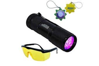 HQRP Professional 365 nM 9 UV LED Ultra Violet Blacklight Flashlight plus HQRP UV Tester
