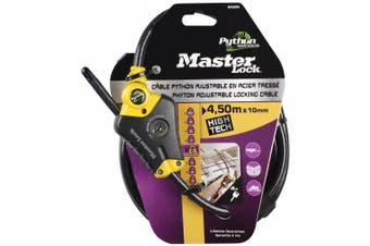Master Lock 8420EURD - Python Cable Lock 4.5 m x ~ 10 mm Yellow Python Lock Head with 3 Positions