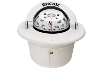 (White) - Ritchie Explorer Compass Dial With Flush Mount And 12V Green Night Lighting (White, 7cm )