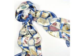 Ladies Navy Blue & Cream Cat Themed Fashion Scarf