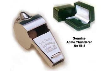 GENUINE Acme Thunderer No 58.5 Solid Brass Pea Whistle, Tapered Mouthpiece with GIFT BOX