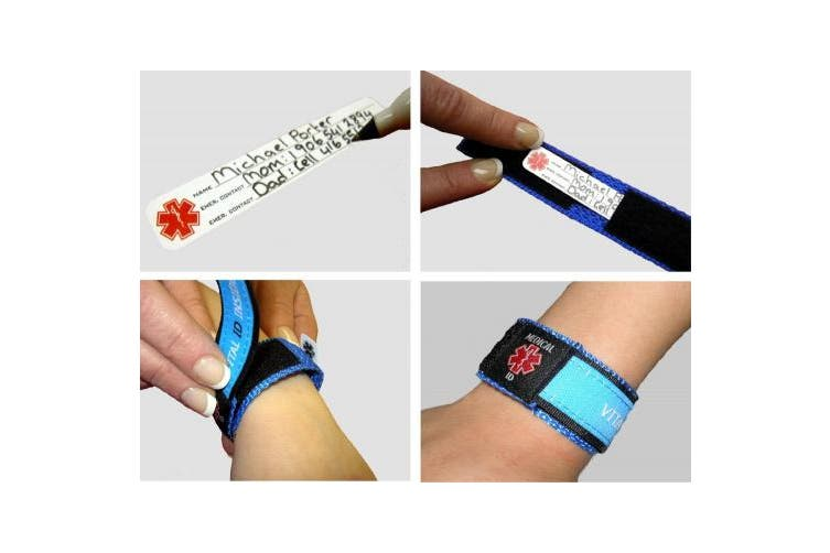 (Charcoal, Medium) - Medical Identity Bracelet. Adult & Child Medical ID Wristband by Vital ID. 100% Waterproof. Tearproof Insert Card. Store Emergency Contacts, Medications, Next of Kin. Smartphone Compatibility Labels