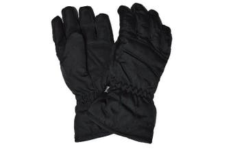 (Medium Size 6 Age 7-9) - Kids Black Ski Gloves - Water Resistant With Warm Tricot Lining. Age 4-6