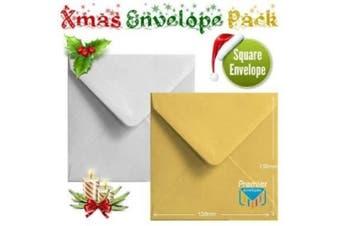 50 Shiny Gold Silver Xmas Card Envelopes Metallic Small Square Christmas Card Envelopes