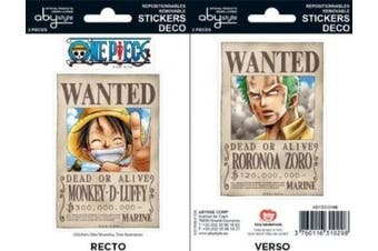 AbyStyle - Stickers - One Piece 16x11cm Wanted Luffy & Zoro - 3760116310208