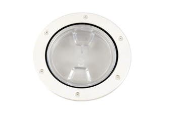 (White) - Beckson 10cm Clear Centre Screw Out Deck Plate
