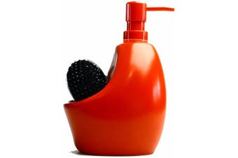 (Red) - Umbra Joey Ceramic Soap Pump and Scrubby Holder Combo, Red