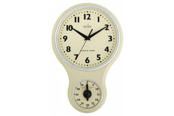(Cream Clock Timer) - Acctim 21592 Kitchen Time Wall Clock, Cream