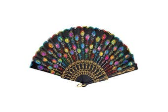 (Multi-color) - Amico Coloured Embroidered Flower Pattern Black Cloth Folding Hand Fan for Woman