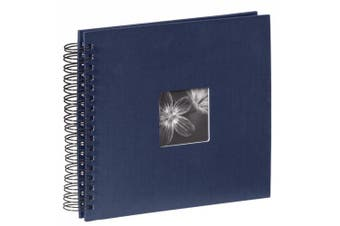 (Blue) - Hama Fine Art photo album, 50 black pages (25 sheets), spiral album 28 x 24 cm, with cut-out window in which a picture can be inserted, blue