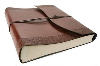 (Large, Brown) - LEATHERKIND Maya Recycled Leather Photo Album, Large Etched - Handmade in Italy