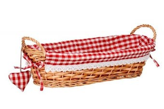 (Red) - Premier Housewares Oblong Willow Basket with Gingham Lining - Red