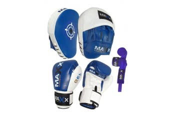 (350ml Gloves) - MAXX Curved Focus pads, Hook & Jab Pads with Gloves & FREE hand wraps Martial Arts
