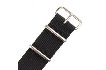 (22mm, Black/silver) - INFANTRY Military Black NATO Watch Band Nylon Fabric Strap G10 4 Rings Silver Hardware 22mm Divers Strong #WS-NATO-B-22M