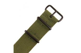 (22mm, Green/black) - INFANTRY Military Green NATO Watch Band Nylon Fabric Strap G10 4 Rings 22mm Divers Black Hardware Strong #WS-NATO-BG-22M