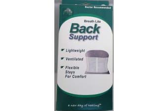 (X-Large (90cm  - 100cm ), White) - Advanced Orthopaedics Breathe Lite Back Support- White (Xl)