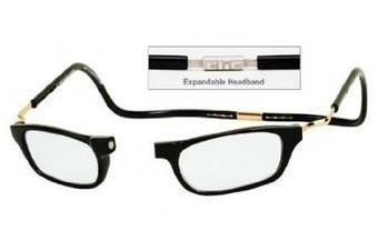 (1.25 magnification, Black XXL) - CliC Adjustable Front Connect Ready Expandable Readers XXL, Light Tortoise