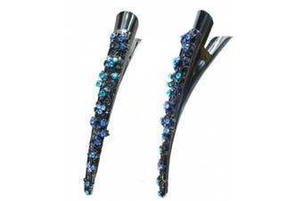 (Blue) - Crystal Alligator Clip duck Bill Hair Clip Long Beak Clip YY86110-1blue